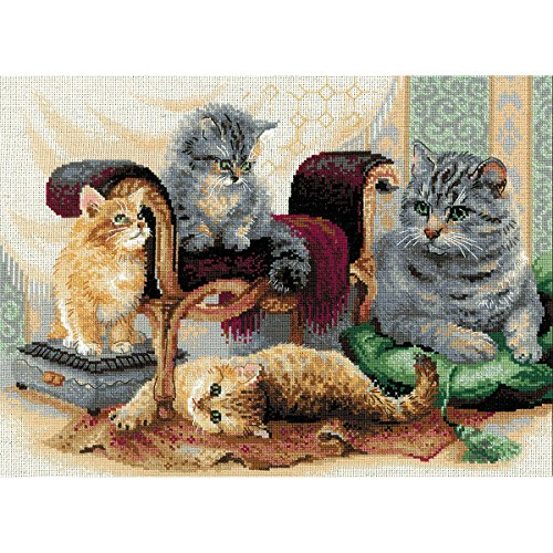 """Price comparison product image RIOLIS R1327 Feline Family Counted Cross Stitch Kit - 15.75""""X11.75"""" 14 Count"""