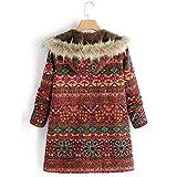 Womens Coats, Vintage Plus Size Print Hooded Pockets Winter Warm Outwear Jacket ODGear