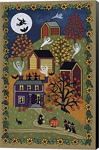 Happy Halloween by Medana Gabbard Canvas Art Wall Picture, Museum Wrapped with Black