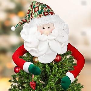 D-FantiX Santa Tree Topper, Large Christmas Tree Topper Santa Hugger Xmas Christmas Tree Decorations Party Home Decor