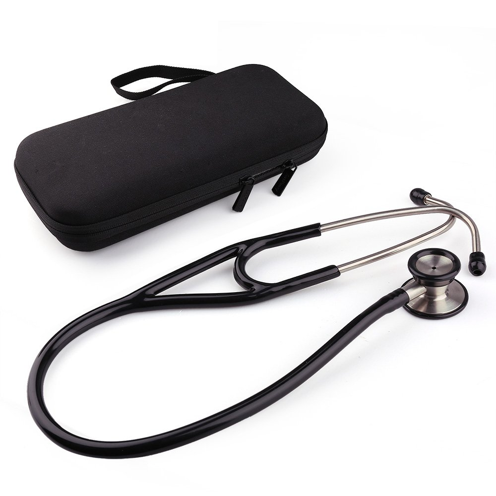 Dual Head Stethoscope with Hard Case by LotFancy, Stainless Steel Chestpiece, Black Tube, 27 Inches