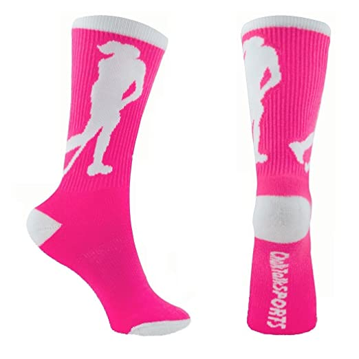 Amazon Com Field Hockey Crew Socks Pink One Size Fits Most Clothing