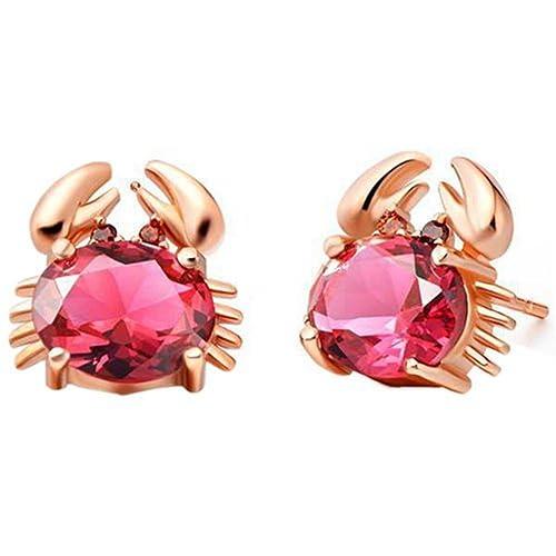 952aebc578085 Amazon.com: Skyjewelry Ruby Lovely Crab Animal Earrings 18k Rose ...