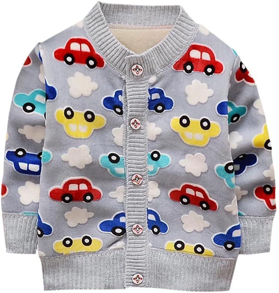 EXIU Cute Baby Boys Girls Cartoon Print Casual Cardigan Knitting Sweater Outerwear