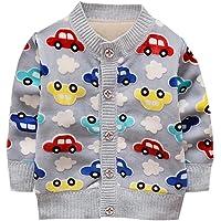 Weixinbuy Baby Boys' Cartoon Car Soft Sweater Cardigan Outerwear Clothes