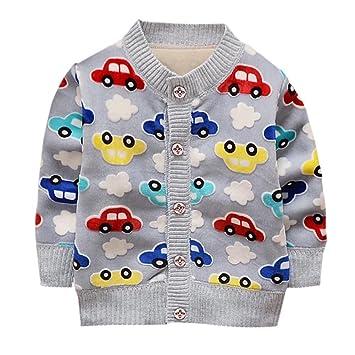 Reefa Baby Boys Cartoon Car Pattern Cardigan Long Sleeve Knitwear