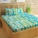 Story@Home 100% Cotton Bed Sheet for Double Bed with 2 Pillow Covers Set, Candy Queen Size Bedsheet Series, 120 TC, Geometic Circles Pattern, Cyan and White