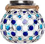 GreenLighting Dotted Solar Jar Light - Decorative LED Glass Table Lantern by (Blue)