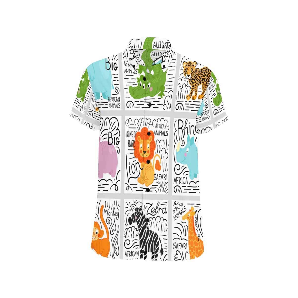 InterestPrint Mens Short Sleeve African Animals Casual Button Down Beach Shirts