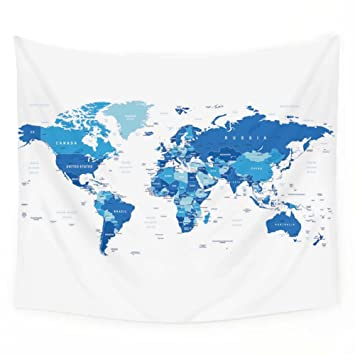 Amazon blue world map tapestry wall hanging art bedspread dorm blue world map tapestry wall hanging art bedspread dorm tapestry home decor59quotx79quot gumiabroncs Images