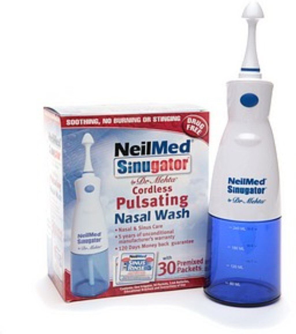 NeilMed Sinugator Cordless Pulsating Nasal Wash with 30 Premixed Packets 1 kit (Pack of 4)