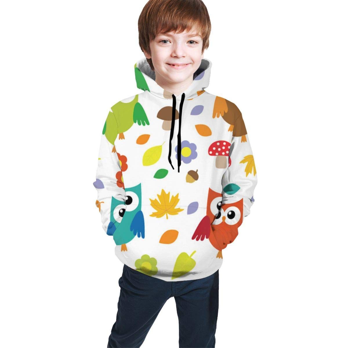 Youth 3D Print Mushroom Owl Pullover Hooded Sweatshirt