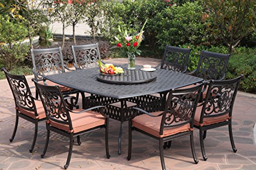 Darlee St. Cruz Cast Aluminum 10-Piece Dining Set with Seat Cushions, 64-Inch Square Dining Table and 30-Inch Lazy Susan, Antique Bronze Finish - Cast Aluminum Patio Furniture