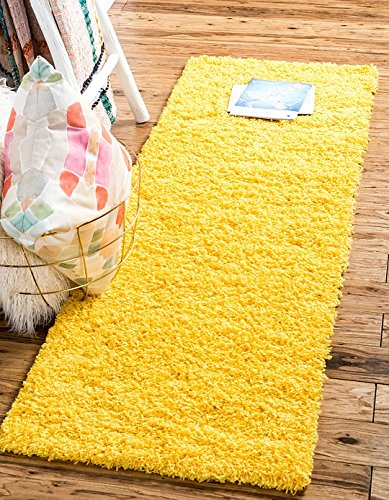 Unique Loom Solid Shag Collection Tuscan Sun Yellow 2 x 6 Runner Area Rug (2' 2