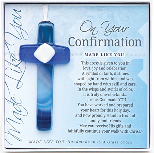 The Grandparent Gift Handmade Glass, Confirmation Gift Cross for Boy