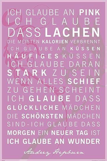 Motivational Ich Glaube An Pink Zitate Sprüche Motivations Poster