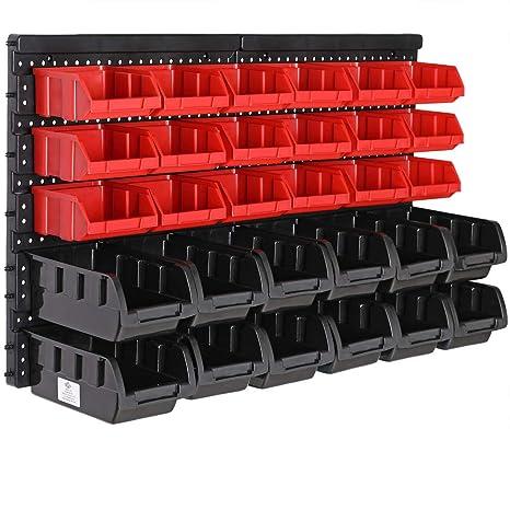 Deuba Estantería de bricolaje pared 32 Piezas Organizador de herramientas Portaherramientas estático 30 Cajas apilables: Amazon.es: Industria, empresas y ciencia