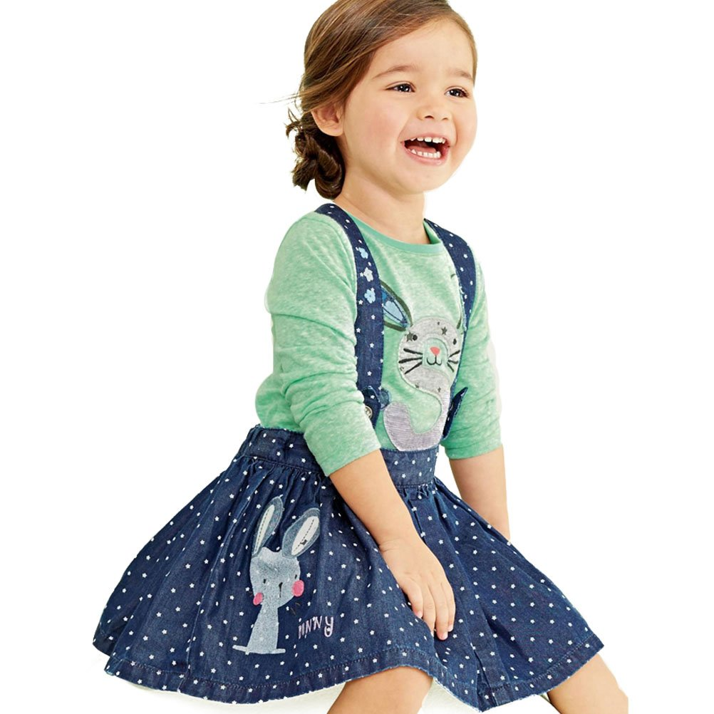 ARAUS Dress Suit Baby Girl Shirt Denim Strap Skirt Outfits Clothing Set 2 Pack