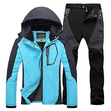 Qitun Mujer de Trekking Impermeable Deportivos Transpirable Pantalones Chaqueta de Esquí Impermeable Chaqueta de Nieve Excursionismo Conjunto ...