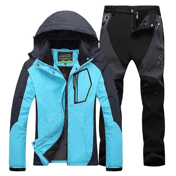 79bf3fd160d Qitun Mujer de Trekking Impermeable Deportivos Transpirable Pantalones  Chaqueta de Esquí Impermeable Chaqueta de Nieve Excursionismo Conjunto   Amazon.es  ...