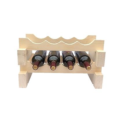 MingHou 2 Tier 8 Bottle Capacity Tier Pine Display Shelves