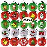 Kuuqa 25 Pieces Christmas Plush Pillow Keychain Christmas Tree, Snowflake, Santa Claus for Xmas Tree Decoration, Christmas Party Home Decoration Supplies