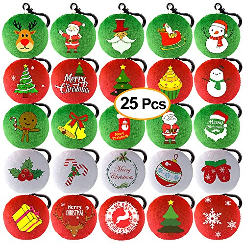 KUUQA 25 Pieces Christmas Plush Pillow Keychain Christmas Tree, Snowflake, Santa Claus for Xmas Tree Ornaments Hanging Decoration, Christmas Party Home Decoration Supplies ()