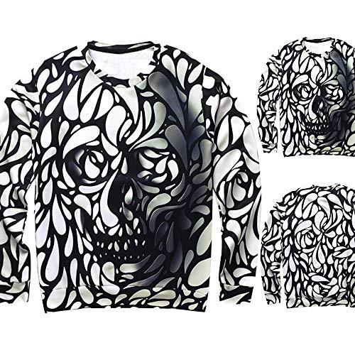 Farjing Mens Casual Halloween Ghost Spirit 3D Print Party Long Sleeve Hoodie Top Blouse(S,Black1)