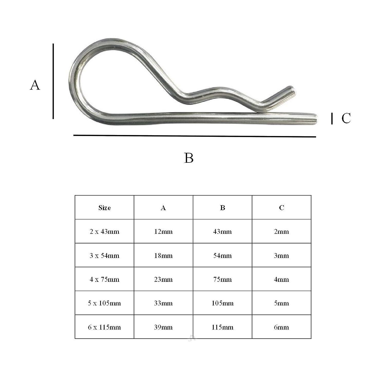 Zingu/é Brillant 2 x Clips R 5 x 105mm pour la Fixation Clevis Goupilles de Retenue