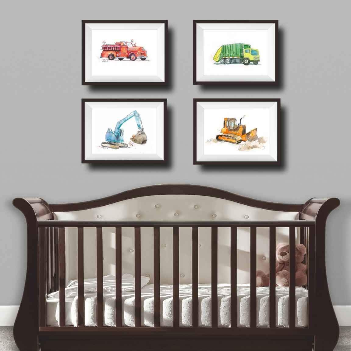 Nursery Wall Decor 8.5 x 11 Inch Gallery Quality Fine Art Gicl/ée Print Green Garbage Truck Wall Art Print for Kids Room