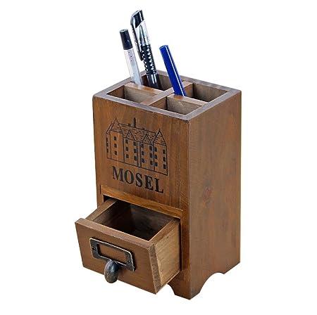 MoGist portalápices Vintage con un pequeño cajón Madera ...