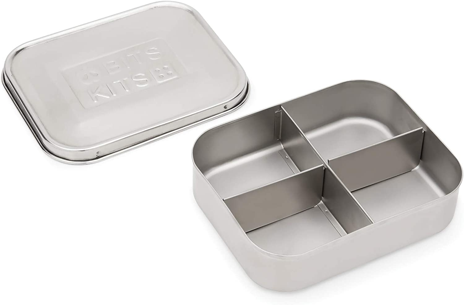 Bits Kits Stainless Steel Bento Box Lunch and Snack Container for Kids and Adults, 4 Sections