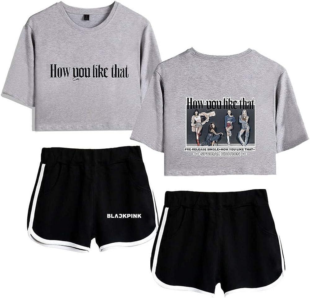 Damen Kpop Blackpink Casual Kurzarm T-Shirt Neues Album How You Like Elastische Taillenshorts 2 pcs//Set Jennie Jisoo Lisa Rose Set