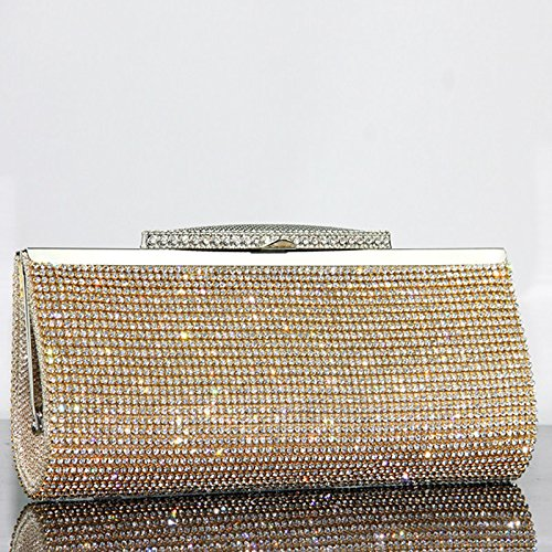 Evening IBELLA Prom Bridal Purse Sparkly Sequin Women Crystal Gold Clutch for Party Bag Handbag Diamante Glitter pqOrwBp