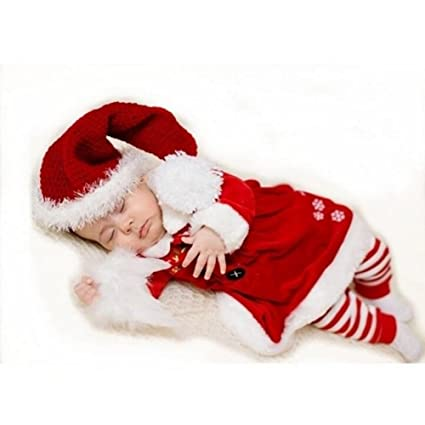WildestDream Beb?Mameluco Santa Claus Infantil Navidad Disfraz Newborn Xmas Crochet Sombrero Top Mamelucos Disfraz