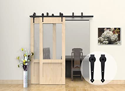 CCJH Barn Door Hardware Heart Style 7 FT Bypass System Hardware Sliding  Rail Track For Double