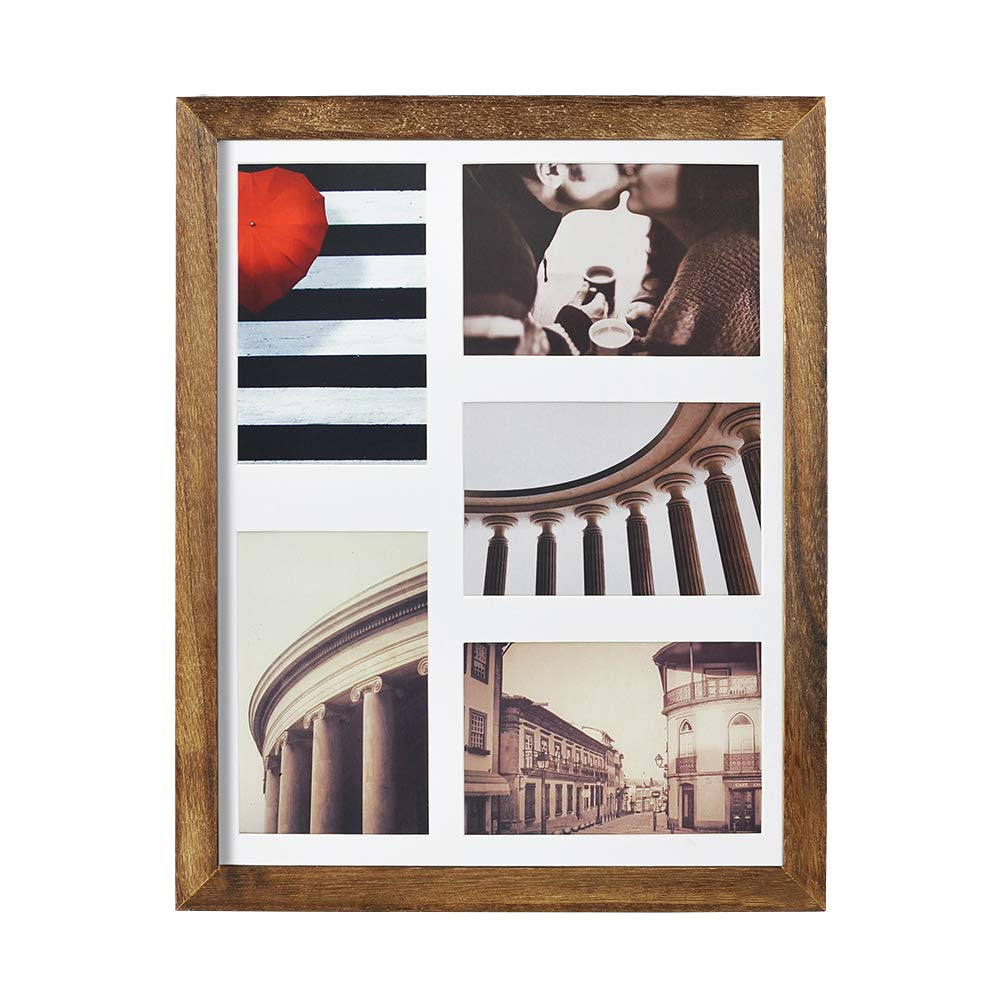 Emfogo 11x14 Picture Frame - Rustic Solid Wood and High Definition Glass Collage Picture Frame Display Five 4 x 6 Photo or 8 x 10 Photo with Mat for Tabletop and Wall Carbonized Black by Emfogo