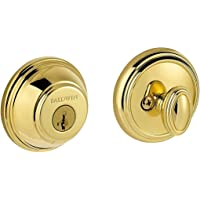 Baldwin Prestige 380 Round Single Cylinder Deadbolt Featuring SmartKey in Lifetime Polished Brass