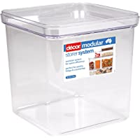 Décor Crystal Clear Stackable, Modular Food Storage Containers, 7.25L, Square
