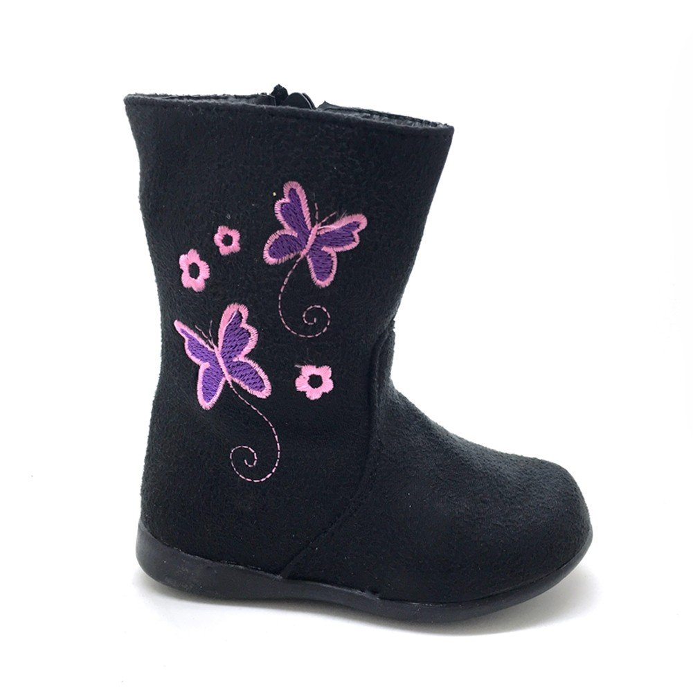Little Girls Black Butterfly Embroidered Side Zip Boots 8 Toddler