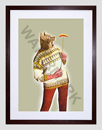 Amazon.com: Wee Blue Coo Woman Sausage CAT Hybrid Small Framed Art ...