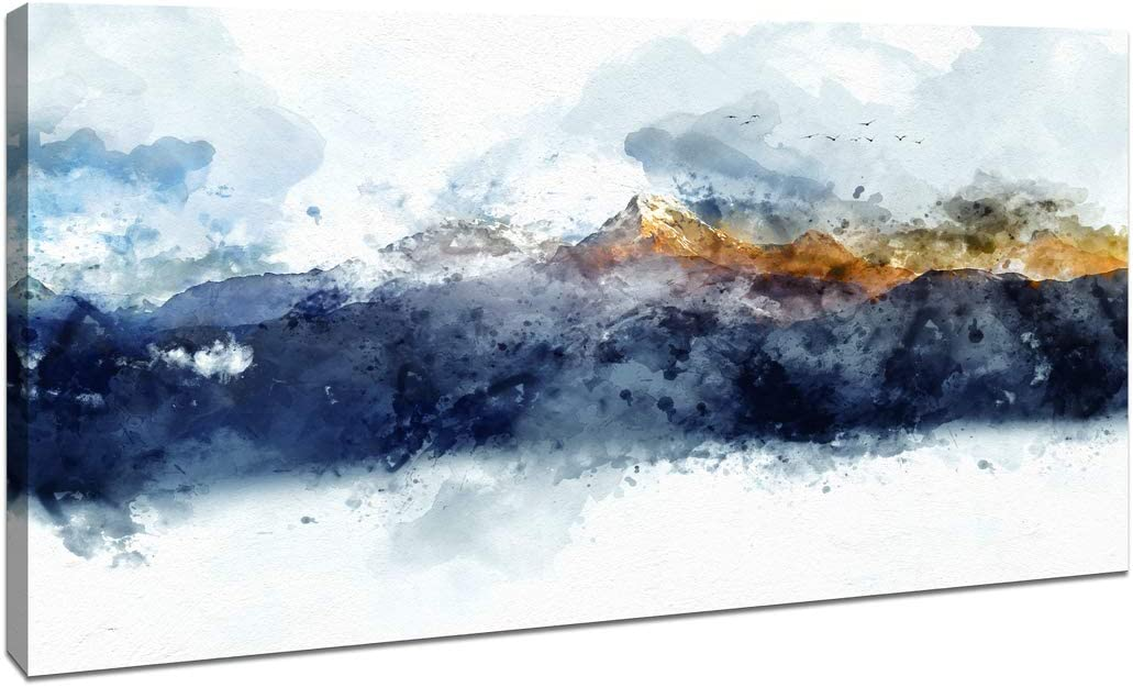 """Abstract Canvas Wall Art for Bedroom Living Room Modern Navy Blue Abstract Mountains Print Poster Picture Artworks for Bathroom Kitchen Wall Decor 1 Pieces Framed Ready to Hang 20"""" x 40"""" x 1 Pieces"""
