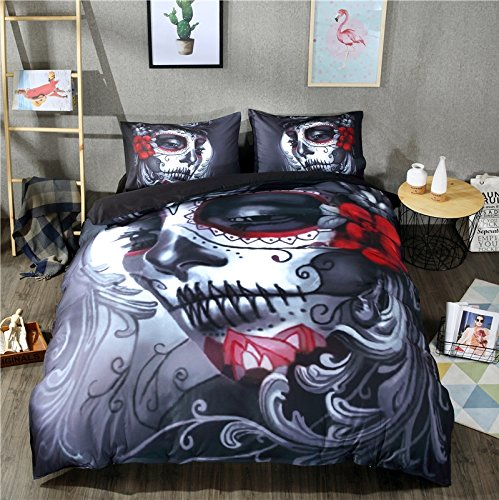 LightInTheBox Christmas Duvet Cover Set Nightmare Before Christmas Sealed Lip Mask 3pc Bedding Set, Duvet Cover with Pillowcase Gift 3D Terrorist Design (Full) -