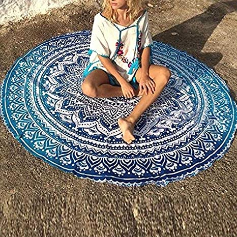 Verde Delidraw Rotondo Mandala Rivestimento Spiaggia Tappetino per Estate Coperta Boh/émien Tappeti