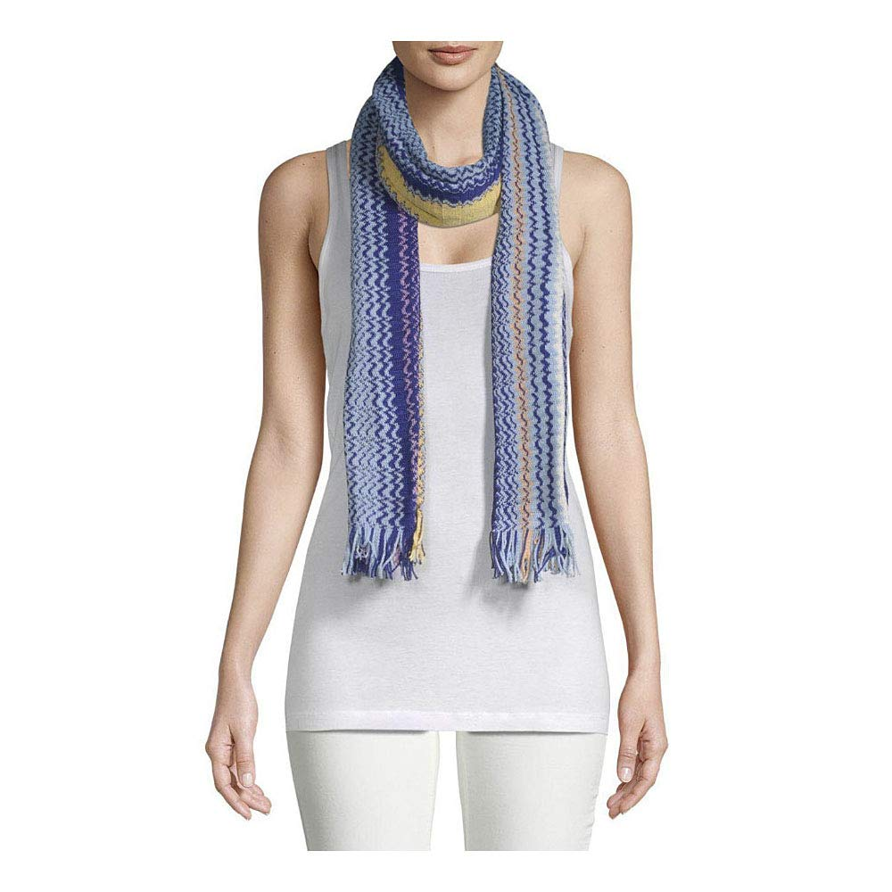 a50bac622ecc70 Missoni Orange Label Blue Yellow Zig Zag Large Oblong Fringe Scarf Wrap at  Amazon Women's Clothing store: