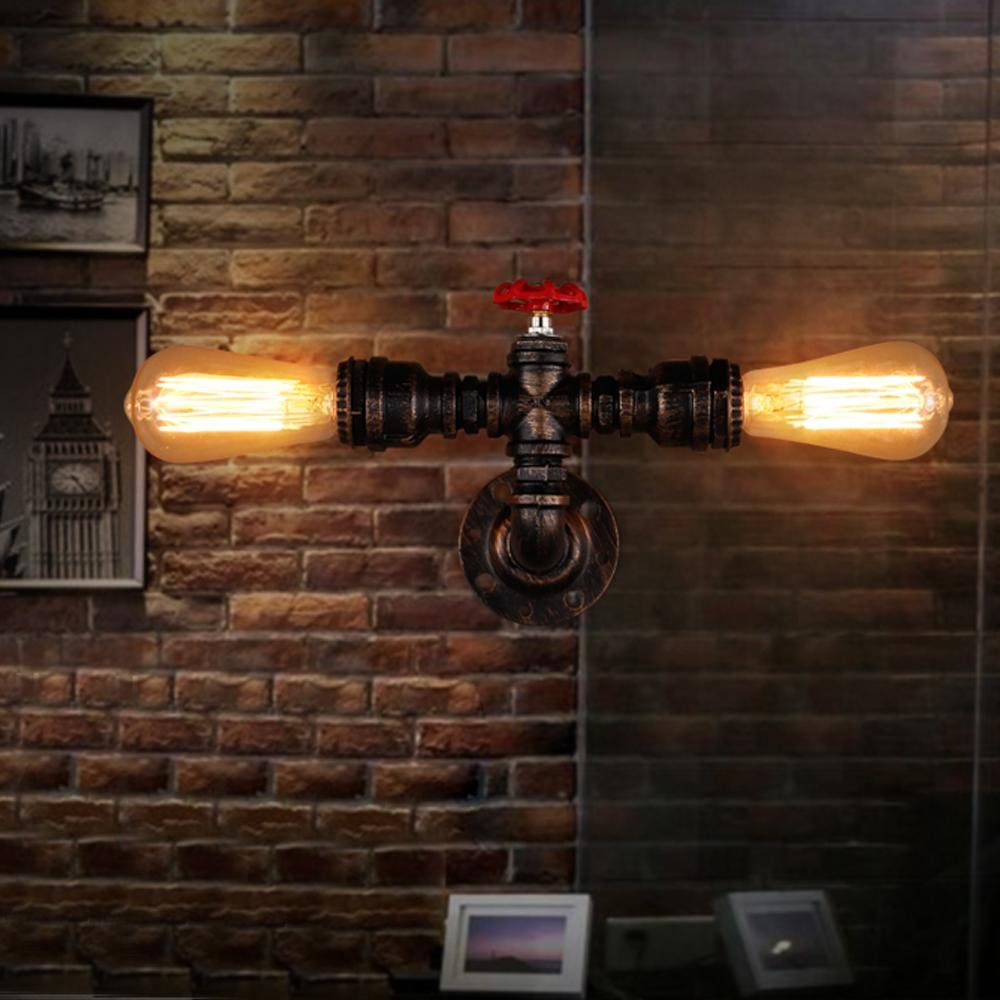 Industrial Antik Nostalgie Creative Retro-Stil Wandleuchte Edison Wandleuchtens Vintage Design Wasserrohr Bronze Wandlampe 2-Lights E27 MAX 60W