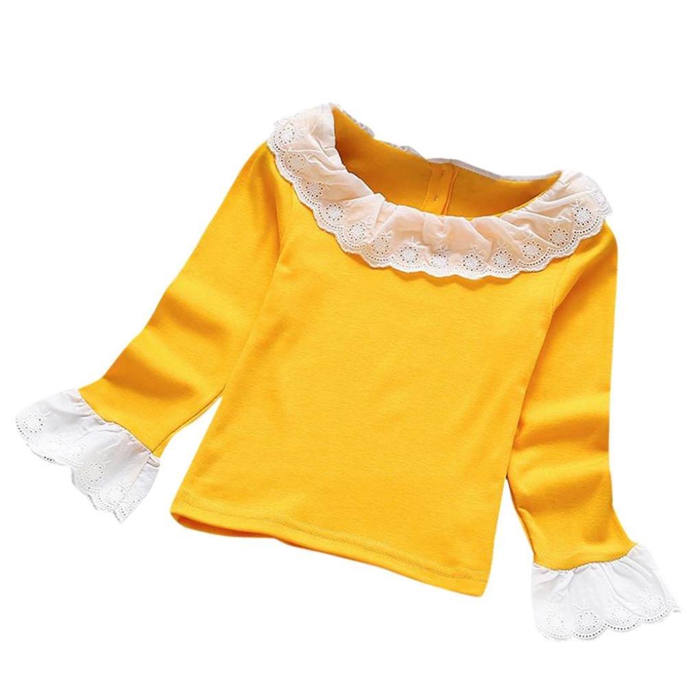 Fineser Little Girls Spring Peter Pan Collar Long Sleeve Lace Blouse Tops Bottoming Shirt