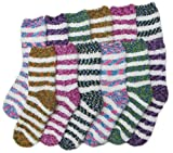 Fuzzy Socks Striped - 12 Pairs, Size: 9-11