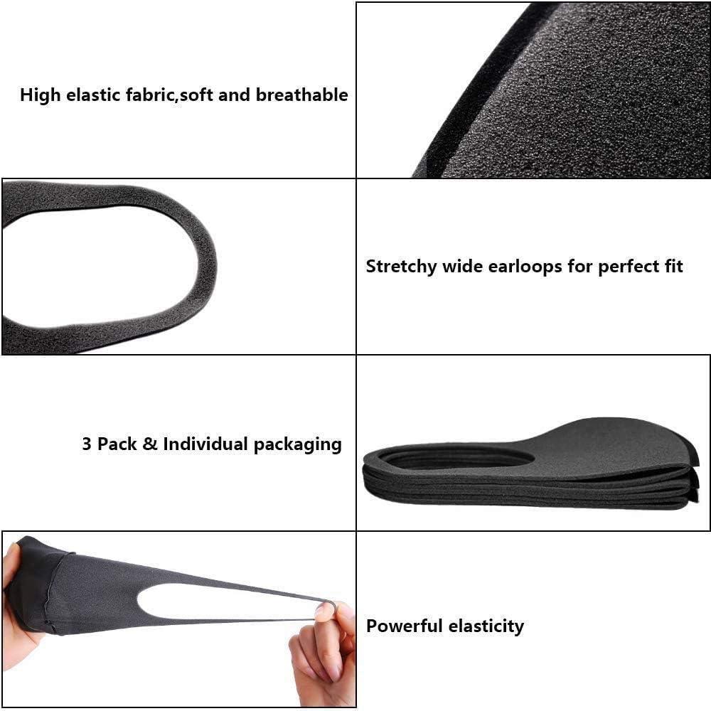 etc. pesca ciclismo Pack de 9 bandanas unisex anticontaminaci/ón para la cara InnooCare para equitaci/ón al aire libre negro reutilizables