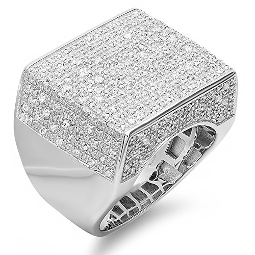 0.75 CT Sterling Silver Fancy Design Round Diamond Men's Flashy Hip Hop Iced Pinky Ring by DazzlingRock Collection